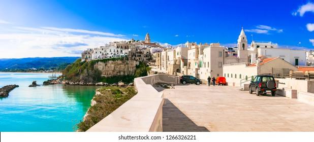 Italian summer holidays- picturesque coastal town Vieste in Puglia