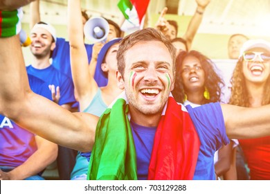 Italian Supporters Cheering at the Stadium