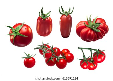 Italian tomatoes: Roma VF, San Marzano, Costoluto, Pachino, Grappolo. Clipping paths for each object