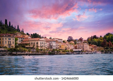 Italian town by Como Lake sunset