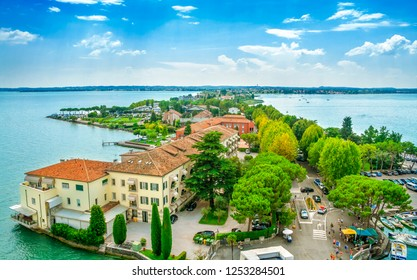 Italian town of Sirmione and Lake Garda from the tower Scaliger, Lombardy region.