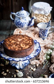 Italian traditional almond and chocolate Caprese cake from Naples