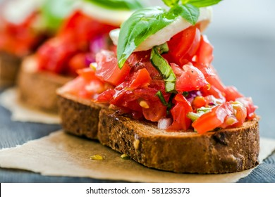 Italian traditional bruschetta