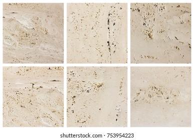Italian travertine texture set. Natural stone background.