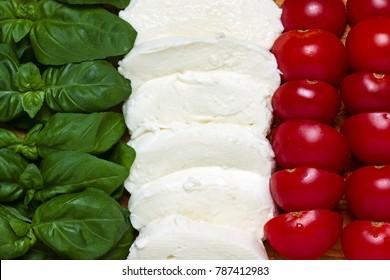 Italian tricolor with basil, tomato, mozzarella