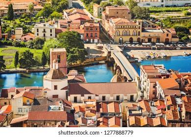 Italian vacations. Beautiful view of Bosa town, Sardinia island, Italy. Popular travel destination