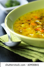 Italian vegetable soup,minestrone,shallow focus