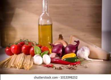 Italian vegetables on a wooden board