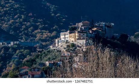 Italian village on the hill of Belmonte Castello