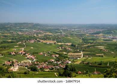 Italian villages and towns among vineyards and fields
