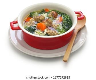 italian wedding soup isolated on white background