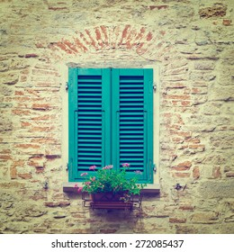 Italian Window with Closed Wooden Shutters, Decorated With Fresh Flowers, Instagram Effect