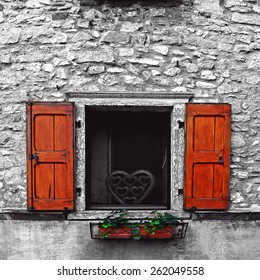 Italian Window with Open Wooden Shutters, Decorated with Fresh Flowers, Retro Image Filtered Style