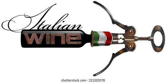 Italian Wine - Corkscrew and Bottle / Old brown and black metallic corkscrew with Italian flag, black bottle with text Italian Wine isolated on white background
