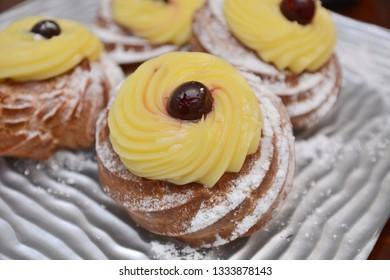 italian zeppole of san Giuseppe day sweet dessert food