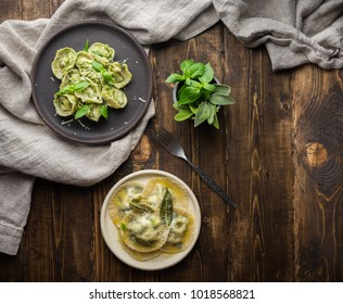 Itallian homemade ricotta and spinach tortellini and ravioli with sage butter and basil pesto