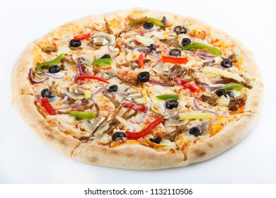 itallian traditional cuisine. pizza on the white bakground. isolated. menu