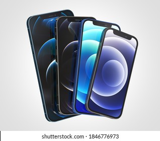 ITALY -01 NOVEMBER, 2020: Iphone 12, 12 Mini, 12 Pro and 12 Max smartphones on white background. Latest Apple Mobile iphones model. Illustrative editorial.