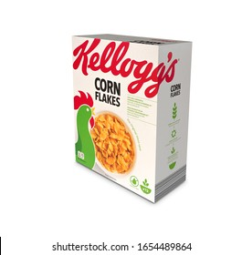 Italy, 18 february 2020: famous pack of Kellogs conflakes illustrative editorial