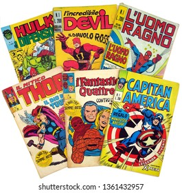 Italy - 1970-1973: first edition of Marvel comic books, cover of Hulk, Daredevil, Spider-Man, Thor, Fantastic 4, Captain America
