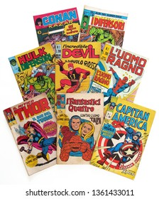Italy - 1970-1975: first edition of Marvel comic books, cover of Hulk, Daredevil, Spider-Man, Thor, Fantastic 4, Captain America, Conan, Defenders