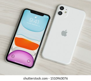 ITALY -22 SEPTEMBER, 2019: Iphone 11 smartphones on table. Iphone 11 in close up. Latest Apple Mobile iphones model. Illustrative editorial.
