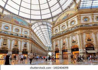 Italy - 23 June 2018: interior of Galleria Vittorio Emanuele in Milano. It's one of the world's oldest shopping malls in Milan city Italy