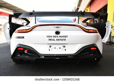 Italy 29 March, 2019: Aston Martin Vantage AMR GT4 of PROsport Performance Germany Team driven by Rodrigue Gillion/Nico Verdonck/Akhil Rabindra in pit lane during 12h Hankook Race at Mugello Circuit