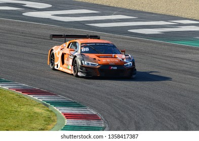 Italy - 29 March, 2019: Audi R8 LMS 2019 of Car Collection Motorsport Germany Team driven by Dimitri Parhofer/Rik Breukers/Markus Pommer/Toni Forné in action during 12h Hankook Race at Mugello Circuit
