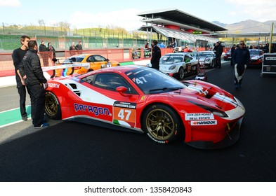 Italy - 29 March, 2019: Ferrari 488 GT3 of Rinaldi Racing Team driven by Andrea Montermini/Andrea Fontana/Wolfgang Triller in Pit Lane during 12h Hankook Race at Mugello Circuit.