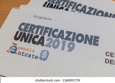 """Italy - 4/5/2019: The """"Certificazione Unica""""  or """"Modello CU"""", in Italy is the cumulative attestation of the income of self-employment, employee and pension. 2019 version."""