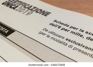 """Italy - 4/5/2019: The """"Certificazione Unica""""  or """"Modello CU"""", in Italy is the cumulative attestation of the income of self-employment, employee and pension. 2019 version with """"8 per mille"""""""