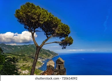Italy. Amalfi Coast (UNESCO World Heritage Site since 1997) seen from garden of Villa Rufolo in Ravello. There are stone pine (Pinus pinea) and towers of the Annunziata Church in the foreground