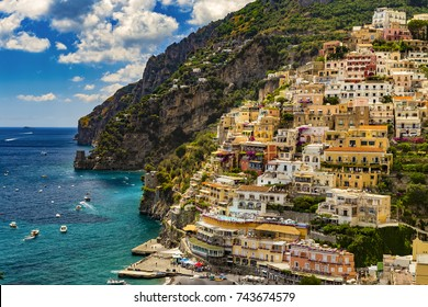 Italy. Amalfi Coast (UNESCO World Heritage Site since 1997). Positano town