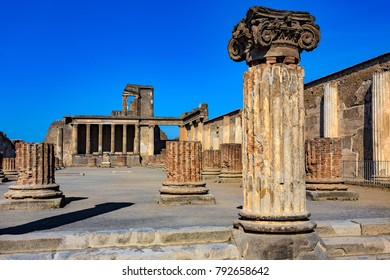 Italy. Ancient Pompeii (UNESCO World Heritage Site). The Basilica - brick columns of the central nave