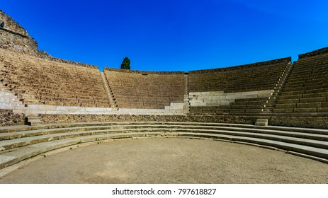 Italy. Ancient Pompeii (UNESCO World Heritage Site). The Grand Theatre built in the second century BC