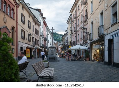 ITALY, AOSTA - JULY 5: Aosta is located region in the Italian Alps. View to the city in evening time on 5 July 2018 Aosta, Italy.