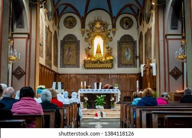 Cuorgnè, Italy - April 20, 2019 : Inner view of the church of Sacro Monte di Belmonte