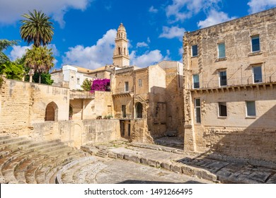 Italy, Apulia, Province of Lecce, Lecce. Bell tower, Duomo dell'Assunta, Cathedral, viewed from a Roman theater.