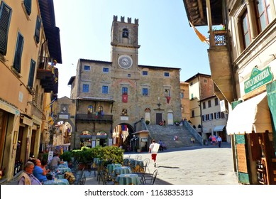 Italy, Arezzo, Cortona, July 2016 cityscape of the historic village of Cortona of Etruscan origins in the province of Arezzo in Tuscany, Italy