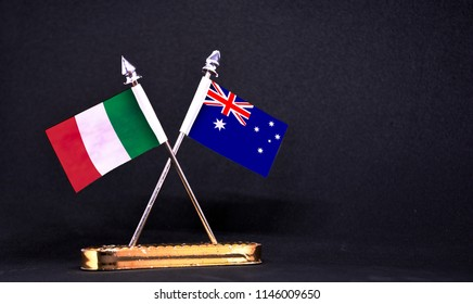 Italy and Australia table flag with black Background