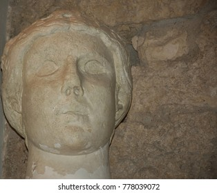 Italy, Bari, 30/08/2017, Norman-Svevo Castle. Medieval fortress. Gipsoteca, display of plaster casts of sculptures and architectural fragments of famous monuments of Puglia. Sculpture
