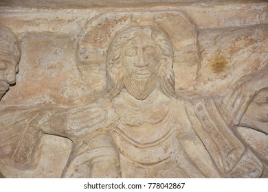 Italy, Bari, 30/08/2017, Norman-Svevo Castle. Medieval fortress. Gipsoteca, display of plaster casts of sculptures and architectural fragments of famous monuments of Puglia. Bas-relief.