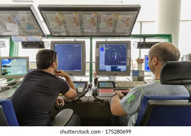 Italy, Bari, International airport, flight control tower, flight controllers working