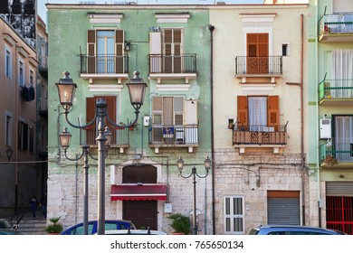 ITALY, BARLETTA - OCTOBER 5: Barletta is located on the Adriatic sea coast. Houses in old italy style next to the square of bus station on morning time, Barletta, 5 October 2017, Italy.