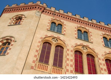 Italy / Barolo – January 1, 2012: The castle of Barolo is a wine and wine museum called WiMu inserted in the network of castles of Langa and Roero.