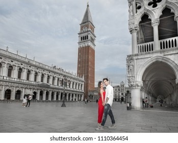 Italy beauty, amorous pretty girl and boy on San Marco square, Venezia, Venice