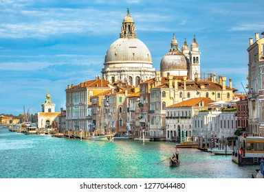Italy beauty, cathedral Santa Maria della Salute and gondola on Grand canal in Venice , Venezia