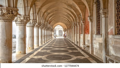 Italy beauty, colonnade on San Marco Square in Venice, Venezia