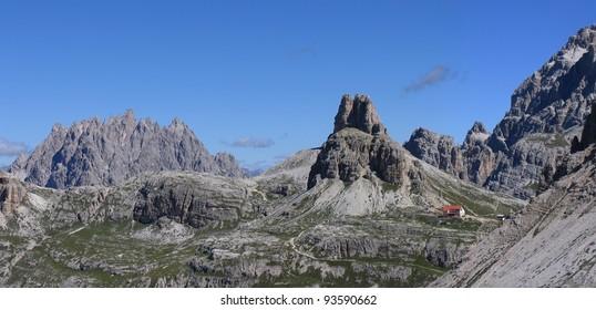 Italy beauty, Dolomites, chalet Locatelli under Torre Toblin mount